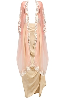Baby Pink Floral Embroidered Cape and Gold Drape Skirt Set by Archana Rao