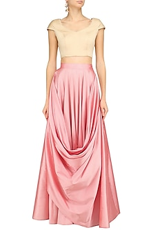 Pink Cowl Loop Pleated Skirt by Archana Rao