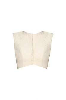 White Quilted Sleeveless Blouse by Archana Rao