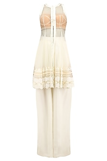 White Lace Embroidered Jacket, Bustier and Palazzo Pants Set by Archana Rao