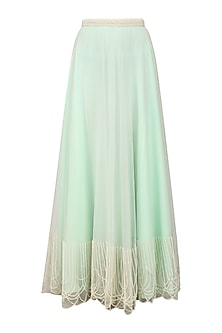 Powder Blue Pearl Embroidered Pleated Skirt by Archana Rao