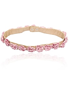 Beige belt with pink organza flowers by Archana Rao