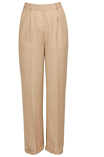 Khaki classic trousers by Archana Rao
