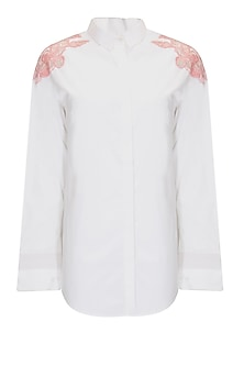 White floral applique shirt by Archana Rao