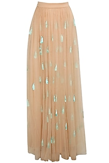 Nude tassel skirt by Archana Rao