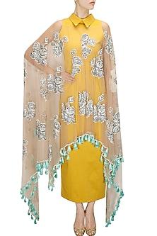 Mustard net overlay collared dress by Archana Rao