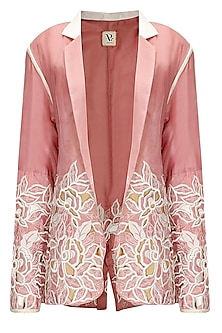 Pink organza jacket by Archana Rao