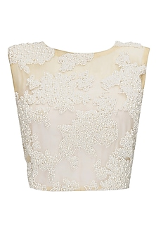 Nude pearl embroidered crop top by Archana Rao