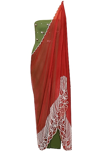 Green and maroon draped sari by Archana Rao