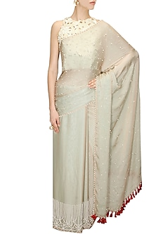 Light blue pearl bubble sari and nude blouse by Archana Rao