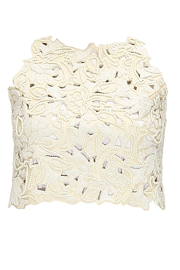 Off White Leather Cutwork Crop Top by Archana Rao