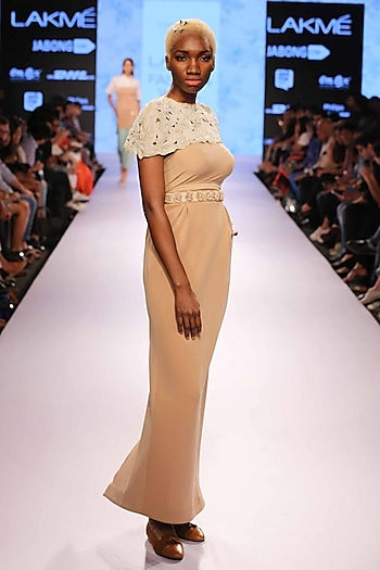 Off white pearl cape by Archana Rao