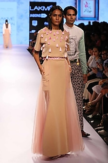 Nude tassel top by Archana Rao