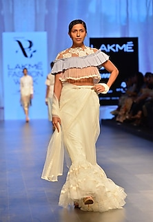 White and blue high neck lace applique crop top by Archana Rao