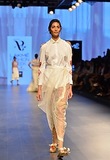 White rose embroidered cut out sleeve shirt by Archana Rao