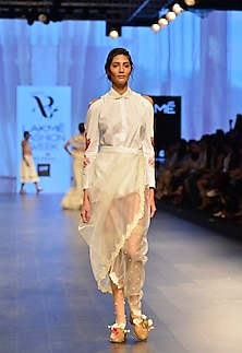 White pearl embroidered drape skirt by Archana Rao