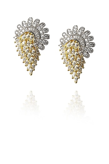Gold finish zircon studded earrings by Sonnet Jewellery