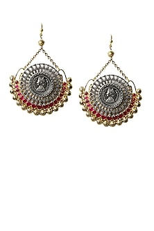 Antique gold and silver finish red zirconic earrings by Art Karat