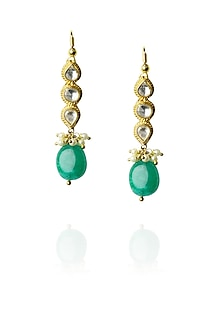 Gold finish kundan and green stone drop earrings by Art Karat