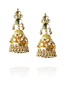 Gold finish kundan stone jhumki drop earrings by Art Karat