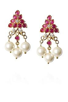 Gold finish zircon and pearl drops earrings by Art Karat