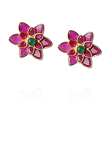 Gold finish red and green zirconic flower earrings by Art Karat