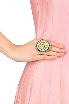 Gold Finish Kundan Round Ring by Art Karat
