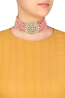 Gold Finish Kundan and Beads String Necklace by Art Karat