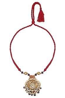 Gold Finish Kundan Pendant Red Thread String Necklace by Art Karat