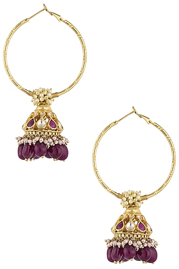 Gold Plated Kundan and Red Stones Hoop Earrings by Art Karat