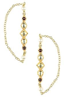 Gold Plated Kundan and Pearl Earrings/ Earcuff by Art Karat