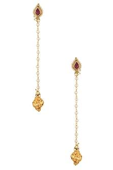 Gold Plated Kundan and Pearl Long Earrings by Art Karat