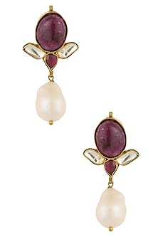 Gold Plated Maroon and Pearl Earrings by Art Karat