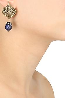 Gold Plated Embosed God Image Blue Stone Earrings by Art Karat