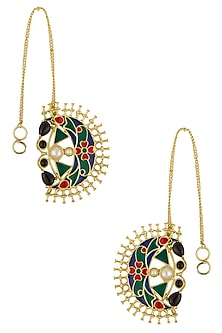 Gold Plated Enamelled Pearl Earrings by Art Karat