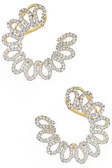 Gold Plated Zircon Half Flower Earrings by Art Karat