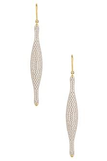 Gold Plated Zircons Fish Hook Earrings by Art Karat