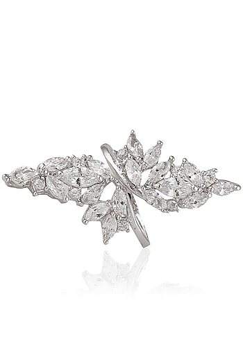 Gold Plated Zircon Flower Ring by Art Karat