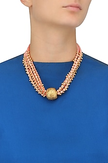 Coral Beads Necklace with Carved Ball by Art Karat