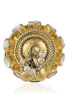 Gold Plated Kundan Ring by Art Karat