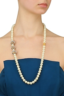 Gold Finish Shell Pearl String Necklace by Sonnet Jewellery