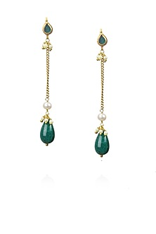 Gold finish green stone and pearl drop earrings by Art Karat