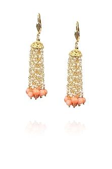 Gold finish white pearls and orange drop earrings by Art Karat