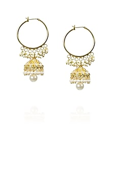 Gold finish zircons and pearl drop hoop earrings by Art Karat