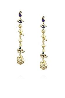 Gold finish blue kundan and white pearls long earrings by Art Karat