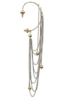 Gold finish silver chain earcuffs