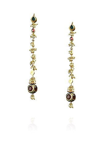 Gold finish green and red kundan studded long earrings  by Art Karat