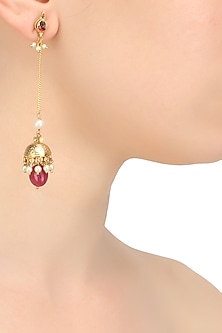 Gold finish ruby kundan studded and wite pearls long earrings
