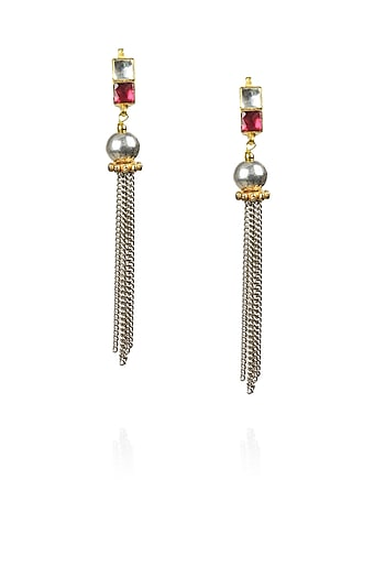 Gold finish silver and pink kundan studded multiple chain earrings  by Sonnet Jewellery