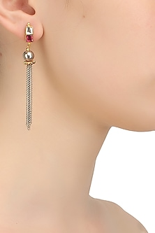 Gold finish silver and pink kundan studded multiple chain earrings